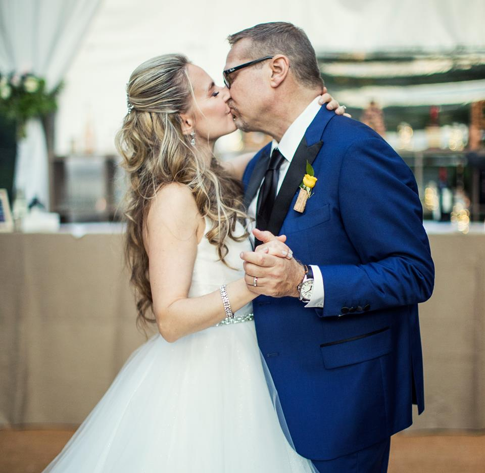 Couple kissing during the reception